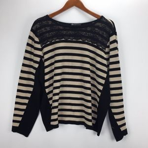 Lane Bryant Womans Black Ivory Striped Sweater